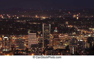 Portland Oregon, USA Fireworks. - View of Portland Oregon,...