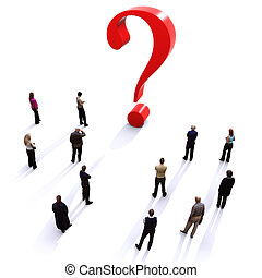 Group of people with questions