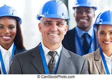 group of construction businesspeople - group of happy...