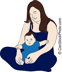 Young mother with her child - Illustration of a caring young...
