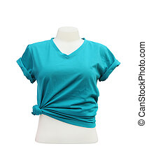 female tshirt template on the mannequin on white background...