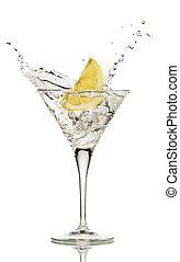 drink - lemon splashing in cocktail isolated on white stock...