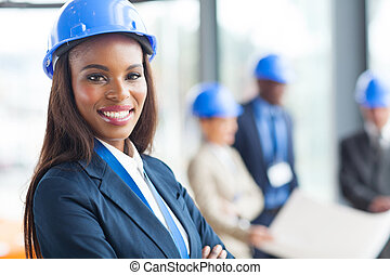 african american female construction worker - pretty african...