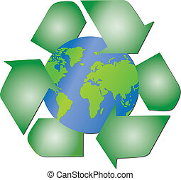 Recycling arrows around the planet - Illustration of the...