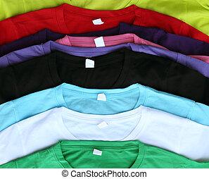 varios, colorido, camisetas