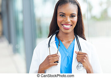 african female doctor - portrait of african female doctor at...