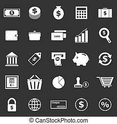 Money icons on black background, stock vector