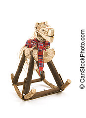 Rocking Horse - Handcrafted rocking horse on white...