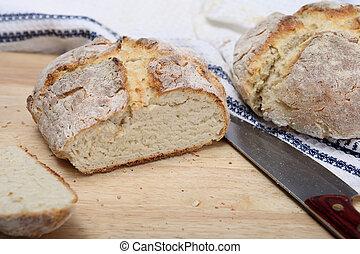 Fresh soda bread - A loaf of fresh Irish soad bread on a...