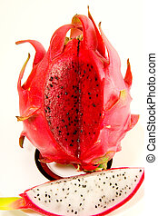 Red Dragon Fruit - An exposed red Dragon fruit contrasted to...