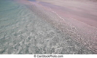 The famous pink sand of Elafonisi, - The famous pink sand of...