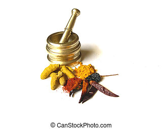 Chilies Turmeric with Mortar 3 - Chilies and Turmeric- Whole...