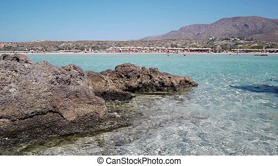 View from the sea to the famous Elafonisi beach, Crete,...
