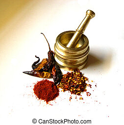 Chilies with Brass Mortar 4 - Chilies- Whole, Powder and...