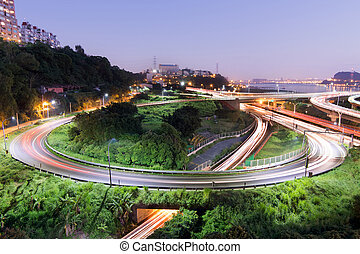 Highway interchange in night with cars moving light, Taipei,...