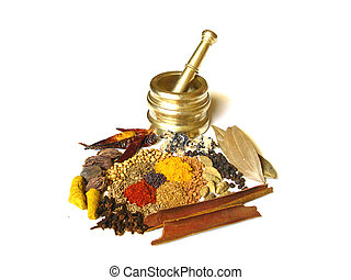 Spices with Mortar 1 - Bright and Colorful Indian Spices...
