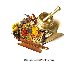 Spices with Mortar 3 - Bright and Colorful Indian Spices...