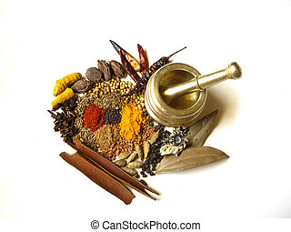 Spices with Mortar 4 - Bright and Colorful Indian Spices...