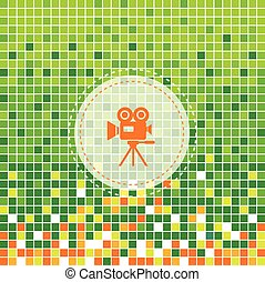 media movie symbol on green moses background