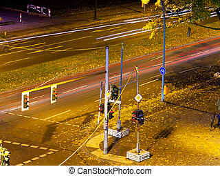 crossroad in city at night