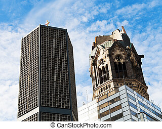 Kaiser Wilhelm memorial church and blue autumn sky in Berlin