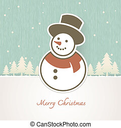 Christmas Snowman with trees covered in snow
