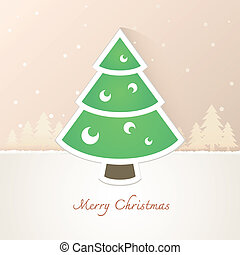 Christmas tree paper with snow background, EPS10, This...