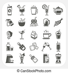 Beverage icons set, EPS10, Don't use transparency.