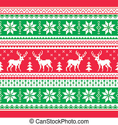 Christmas and Winter pattern - Red and green Xmas seamless...