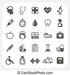 Medical and health icons set, EPS10, Don't use transparency.