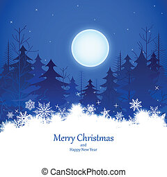 Christmas Winter Night - easy to edit vector illustration of...