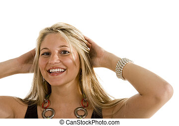 Blonde with Great Smile Both Hands in Hair