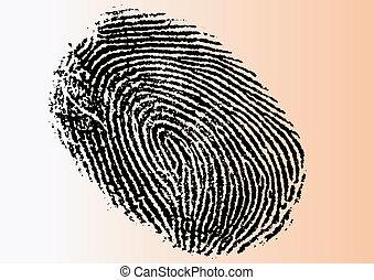 Very Detailed FingerPrint - Black and White Vector...