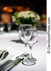 Romantic dinner for two. - Table decorated for romantic...
