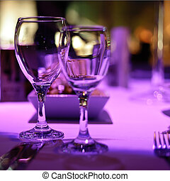 Table decorated for romantic dinner for two.