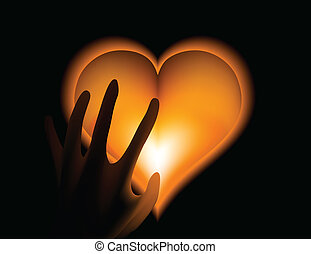 Hand in heat from gold heart cold. Vector