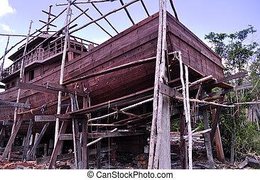Boat Building - Boat building in Puting Orangutan...