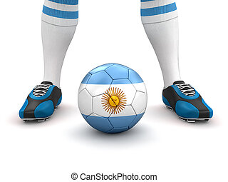 Man and ball with Argentina flag - Man and soccer ball with...