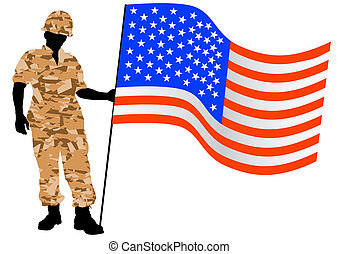 American flag and soldier