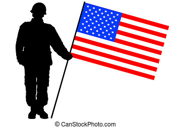 Flag and soldier - Vector drawing of a soldier in uniform...
