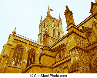 Retro looking Southwark Cathedral, London - Vintage look The...