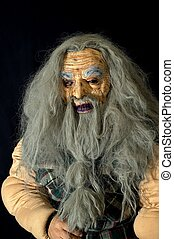 Scary old man - Halloween mask of an old man with long gray...