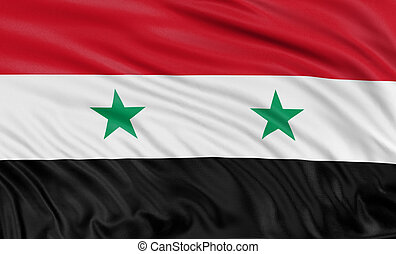 3D syrian flag with fabric surface texture White background...