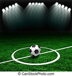 Soccer ball on the green field with lights