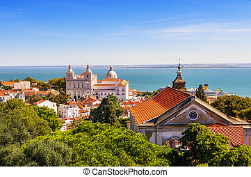 Lisbon View - Panorama of a old traditional neighborhood in...