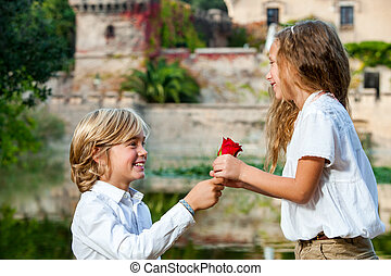Youngster declaring love to girlfriend - Close up portrait...