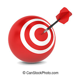 Dart hits aim. 3d illustration on white background