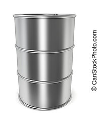 Steel barrel 3d illustration on white background