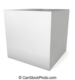 Blank white box 3d illustration on white background
