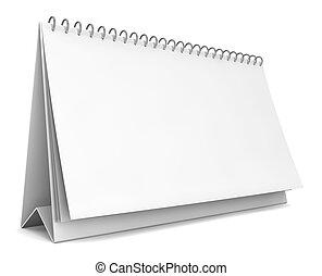 Blank calendar 3d illustration on white background